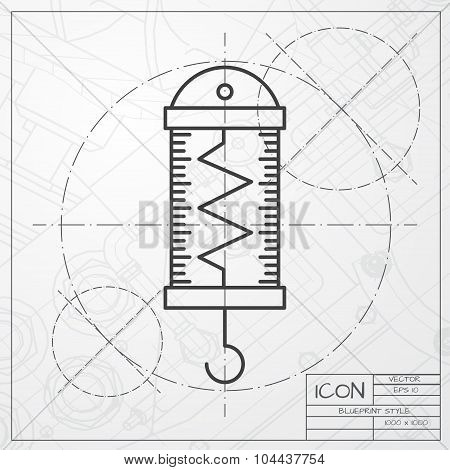 Vector classic blueprint of physics dynamometer for laboratory work on engineer and architect background poster