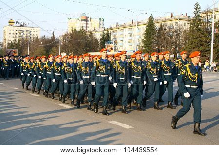 UFA, RUSSIA - MAY 4: Rescuers of Emergency Control Ministry of Russia take part at the dress rehearsal of Victory Parade on May 4, 2010 in Ufa, Russia.