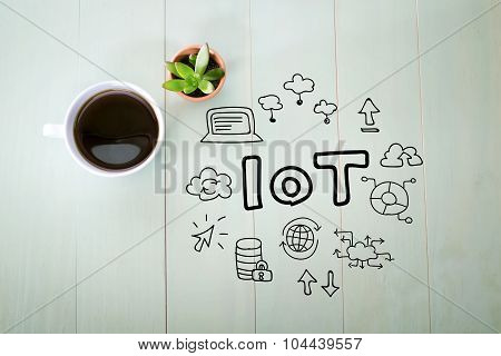 Iot Concept With A Cup Of Coffee