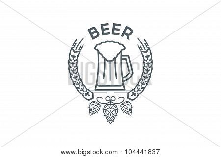 Mug of beer logo with hops and leaves. Line art.