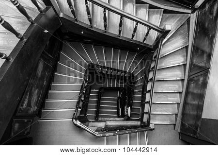 Ancient Wooden Spiral Staircase Square Shape