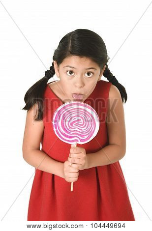sweet beautiful latin female child holding big pink spiral lollipop licking happy isolated on white background in funny crazy face expression and sugar addiction concept poster