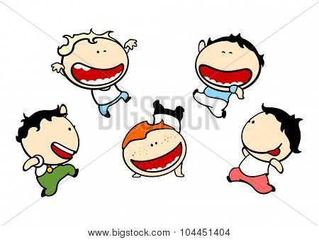 Funny kids #79 - cute small mischievous boys (raster version)