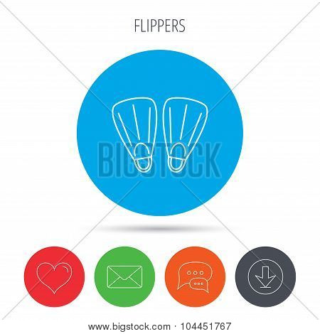 Swimming flippers icon. Diving sign.
