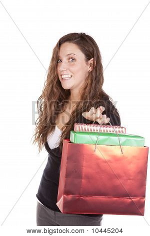 Business Woman With Bag Of Gifts