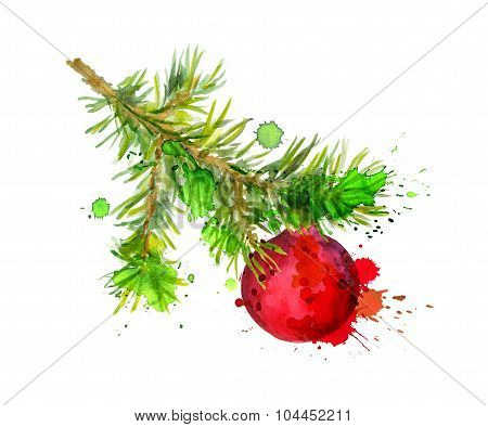 Fir tree branch with red bauble. Watercolor
