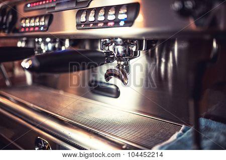 Automatic Espresso Machine Waiting For Coffee Cups. Espresso Machine At Restaurant Or Pub.