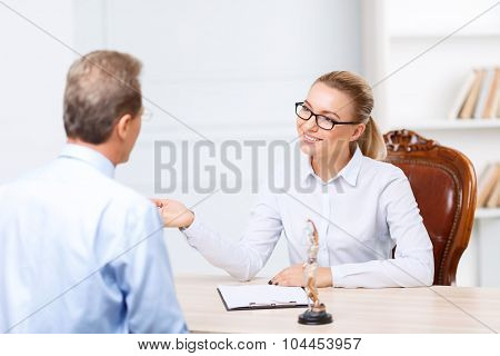 Professional lawyers having conversation