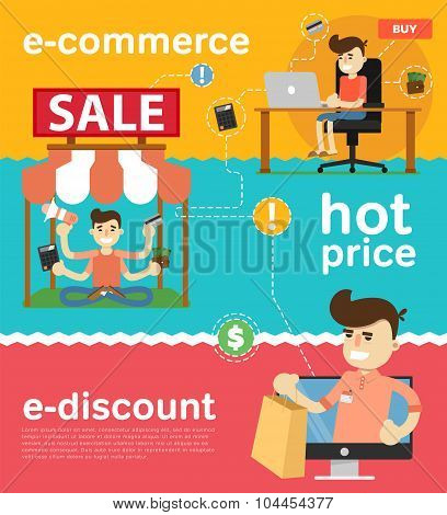 Sale banner concept. People enjoyed sales. Shopping time. Discount offer. Special offer banner. Overstock lots. Sale elements. Сlearance sale. Sale time vector illustration. Discount banner. Sale offer illustration. Hot price. E-discount.