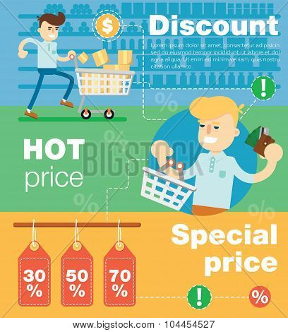Sale banner concept. People enjoyed sales. Shopping time. Discount offer. Special offer banner. Overstock lots. Sale elements. Сlearance sale. Sale time vector illustration. Discount banner. Sale offer illustration. Sale tag. Special price. Hot price.