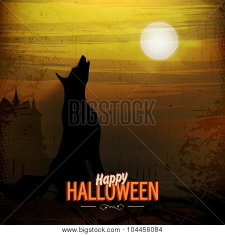 Scary screaming fox on horrible night background for Happy Halloween Party celebration.