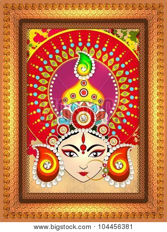 Beautiful shiny floral design decorated frame with illustration of Hindu mythological Goddess Durga for Indian festival, Happy Dussehra celebration.