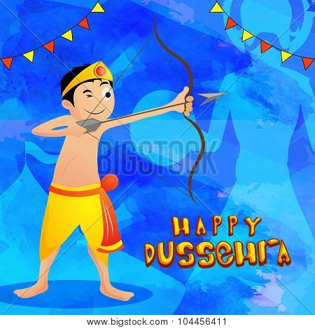 Cute little boy in traditional outfit, holding bow and arrow and taking aim towards Ravana on occasion of Happy Dussehra celebration.
