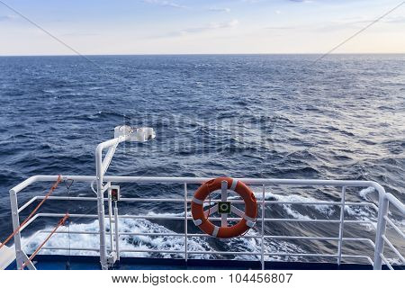 Personal Flotation Device On The Deck Of A Ship