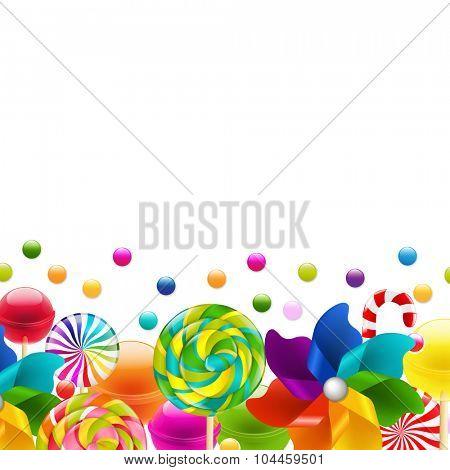 Lollypop Big Set With Pinwheel Border With Gradient Mesh, Vector Illustration