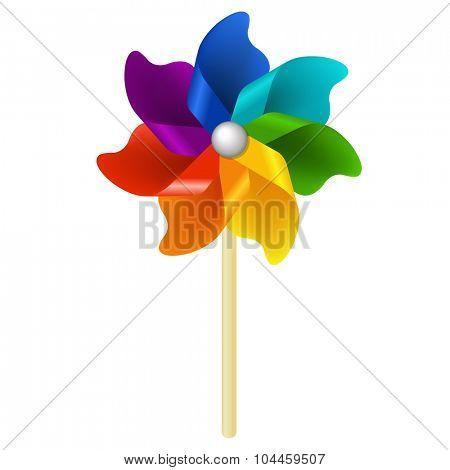 Color Pinwheel With Gradient Mesh, Vector Illustration