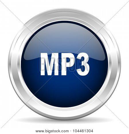 mp3 cirle glossy dark blue web icon on white background