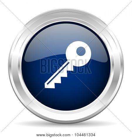 key cirle glossy dark blue web icon on white background