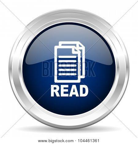 read cirle glossy dark blue web icon on white background