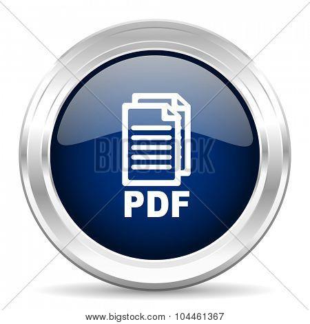 pdf cirle glossy dark blue web icon on white background,