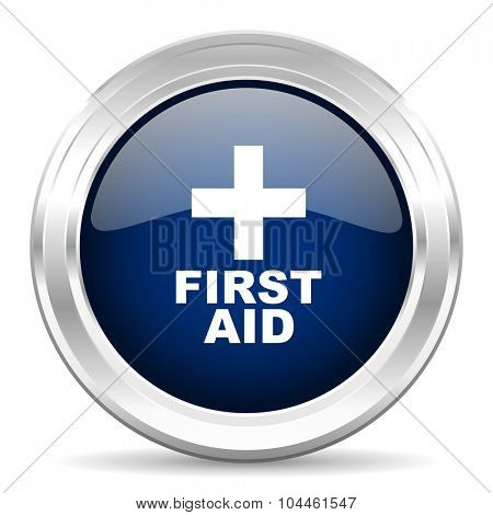 first aid cirle glossy dark blue web icon on white background