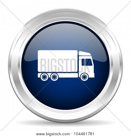delivery cirle glossy dark blue web icon on white background