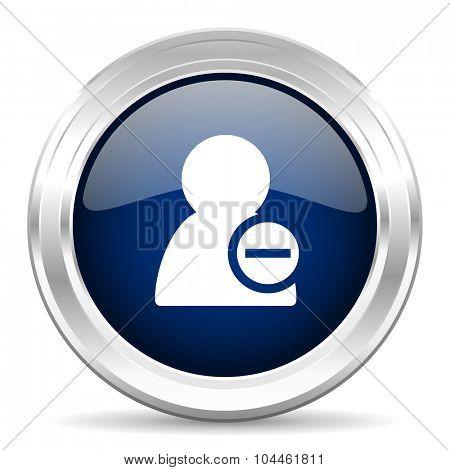 remove contact cirle glossy dark blue web icon on white background