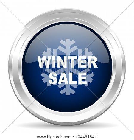winter sale cirle glossy dark blue web icon on white background