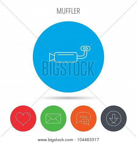 Muffer icon. Car fuel pipe or exhaust sign. Mail, download and speech bubble buttons. Like symbol. Vector poster