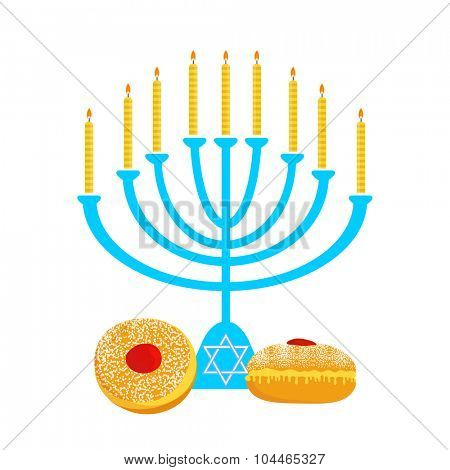 Vector illustration of hanukkah, jewish holiday. Hanukkah menora with  candles and traditional donuts -  Sufganiyah