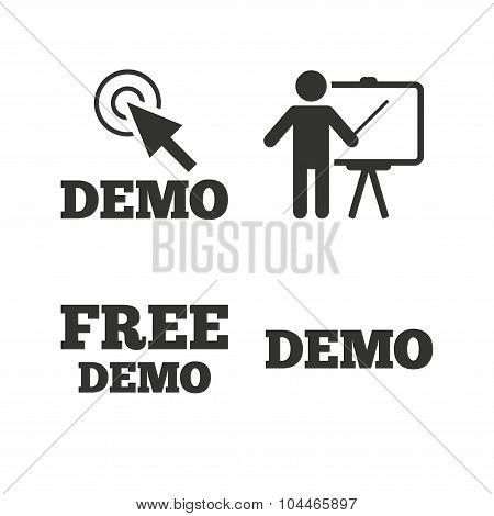 Demo with cursor icon. Presentation billboard sign. Man standing with pointer symbol. Flat icons on white. Vector poster
