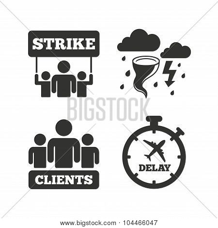 Strike icon. Storm bad weather and group of people signs. Delayed flight symbol. Flat icons on white. Vector poster
