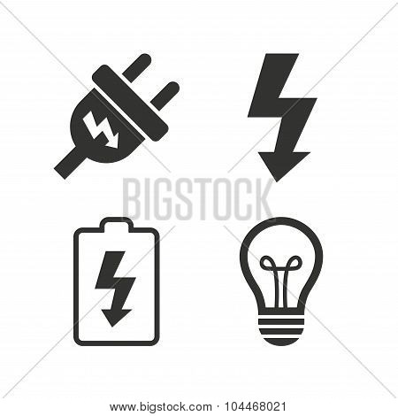 Electric plug sign. Lamp and battery low.