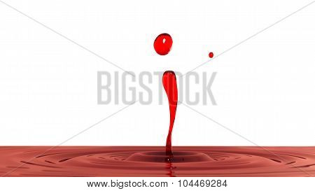 Drop Of Red Wine Macro With The Focus Effect (side View On White Background)