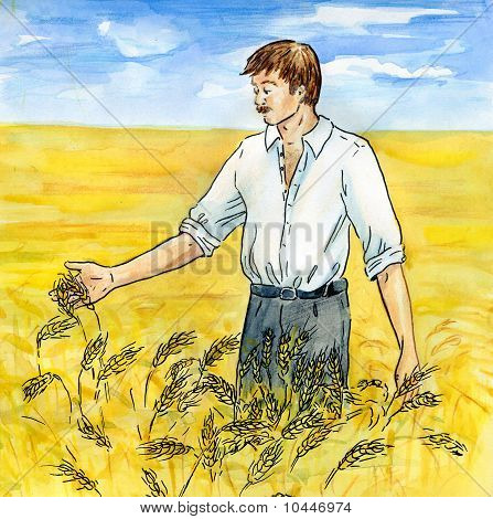 The Agriculturist On A Wheaten Field