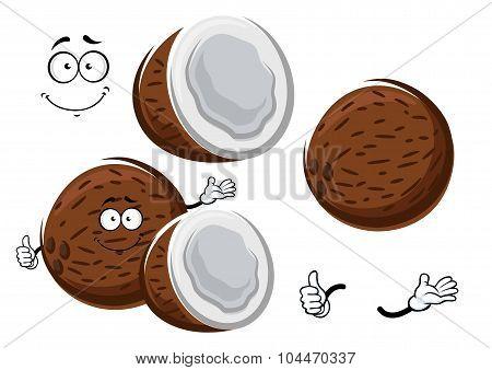 Cartoon tropical fresh coconut fruit