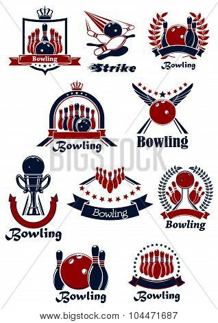 Bowling sporting club emblems with items