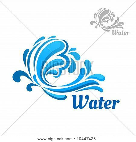 Blue wave with water splashes and drops