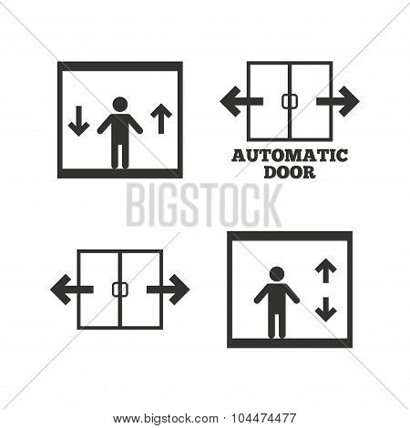 Automatic door icons. Elevator symbols. Auto open. Person symbol with up and down arrows. Flat icons on white. Vector poster