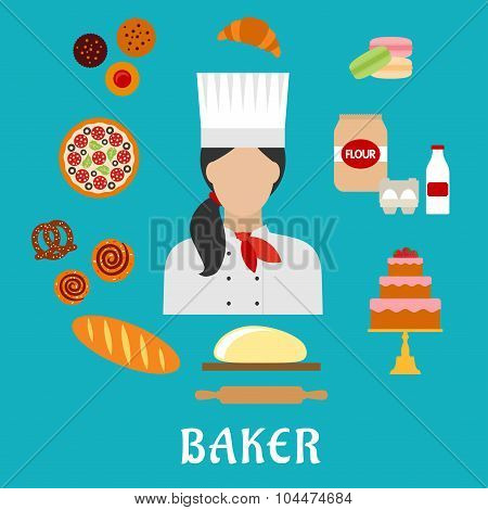 Baker profession flat icons with baker in chef hat, encircled by pizza, cupcakes, cake, macarons, croissant, long loaf of bread, cinnamon rolls, pretzel, dough with rolling pin, flour, eggs and milk poster