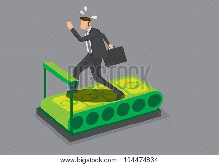 Businessman Running On Money Treadmill Vector Illustration