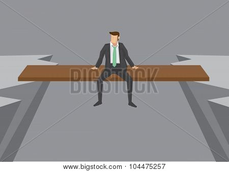 Businessman On Risky Position Conceptual Vector Illustration