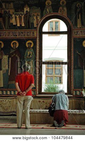 The Grave Of Saint Nicodim In The Monastery Of Tismana, Romania