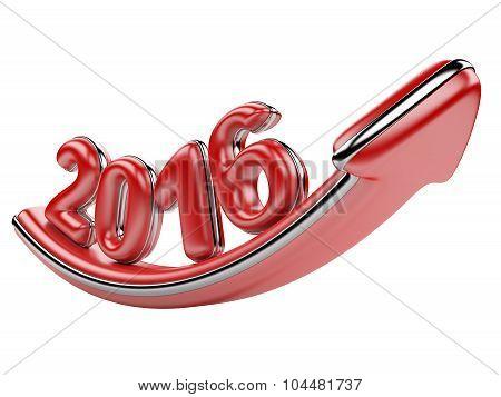 3D Arrow With Year 2016 Growth Upward