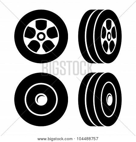 Tires Icons Set on White Background. Vector