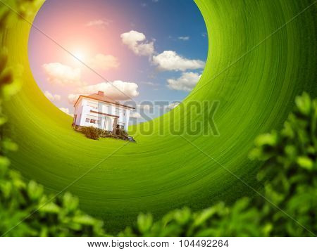 House on the green lawn