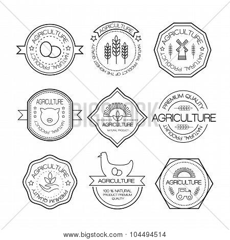 Agriculture And Farming Logos In Linear Style
