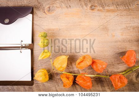 Autumn ackground. Cape gooseberry on wooden table with notebook