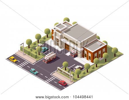 Vector isometric fire department  building icon