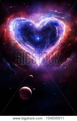 Illustration of a colorful supernova in heart shape with planets and stars